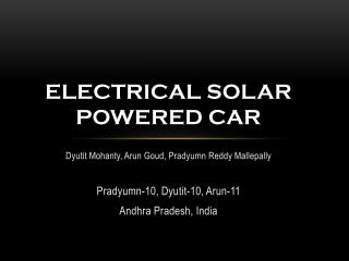 Electrical solar powered car