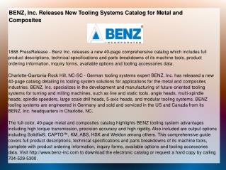 BENZ, Inc. Releases New Tooling Systems Catalog