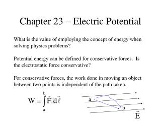 Chapter 23 – Electric Potential