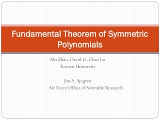 Fundamental Theorem of Symmetric Polynomials