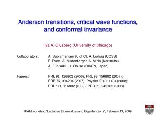 Anderson transitions, critical wave functions,  and conformal invariance
