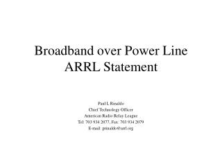 Broadband over Power Line  ARRL Statement