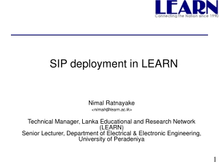 LANKA EDUCATION AND RESEARCH NETWORK LEARN    Nimal Ratnayake Technical Director