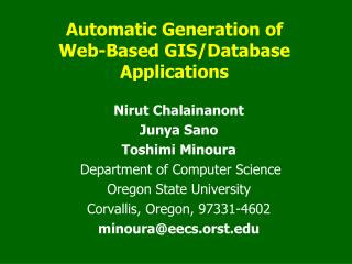 Automatic Generation of  Web-Based GIS/Database Applications