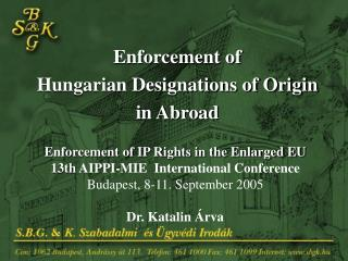Enforcement of  Hungarian Designations of Origin  in Abroad