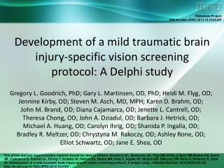Development of a mild traumatic brain injury-specific vision screening protocol: A Delphi study