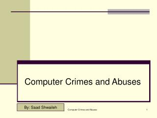 Computer Crimes and Abuses