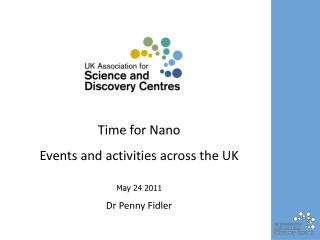 Time  for N ano Events and activities across the UK May 24 2011 Dr Penny Fidler