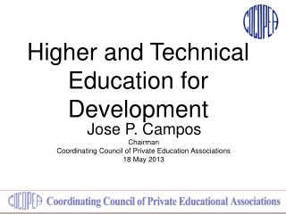Higher and Technical Education for Development