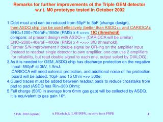 Remarks for further improvements of the Triple GEM detector
