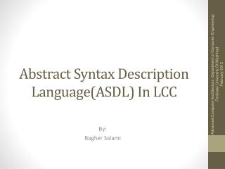 Abstract Syntax Description  Language(ASDL ) In LCC
