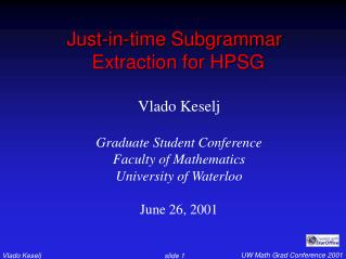 Just-in-time Subgrammar Extraction for HPSG
