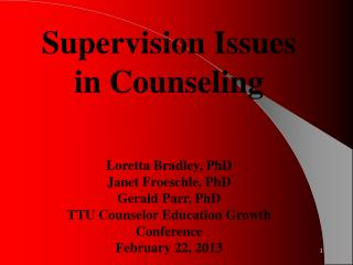 Supervision Issues  in Counseling Loretta Bradley, PhD Janet Froeschle, PhD