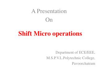 Shift Micro operations