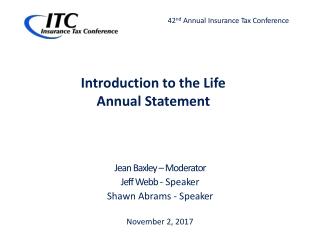 Jean Baxley – Moderator Jeff Webb - S p e a k er Shawn Abrams - S p e a k er November 2, 2017