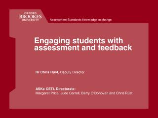 Engaging students with assessment and feedback