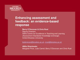 Enhancing assessment and feedback: an evidence-based response
