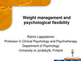 Weight management and psychological flexibility