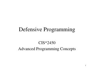 Defensive Programming