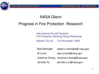 NASA Glenn  Progress in Fire Protection  Research