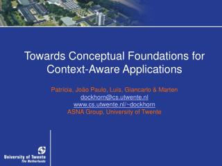 Towards Conceptual Foundations for Context-Aware Applications