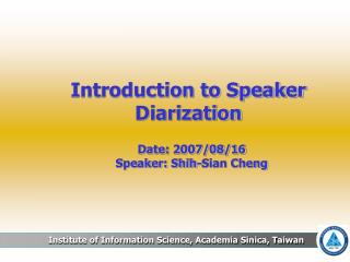 Introduction to Speaker Diarization