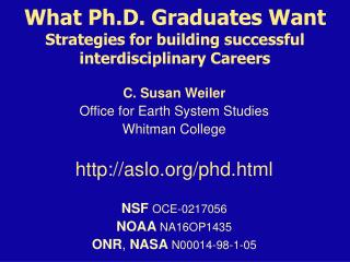 What Ph.D. Graduates Want Strategies for building successful interdisciplinary Careers