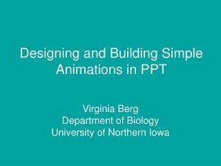 Designing and Building Simple Animations in PPT