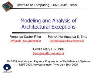 Modeling and Analysis of Architectural Exceptions