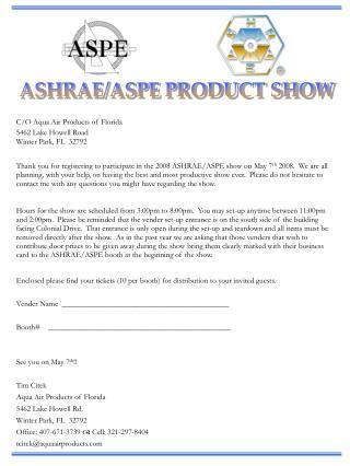 ASHRAE/ASPE PRODUCT SHOW