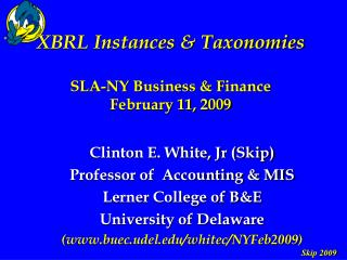 XBRL Instances & Taxonomies SLA-NY Business & Finance February 11, 2009