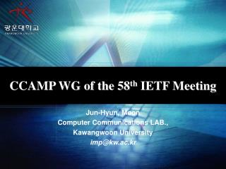 CCAMP WG of the 58 th  IETF Meeting