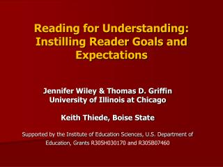 Reading for Understanding: Instilling Reader Goals and Expectations