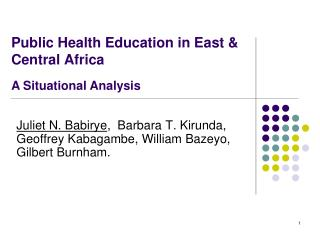 Public Health Education in East & Central Africa