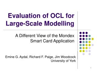 Evaluation of OCL for Large-Scale Modelling