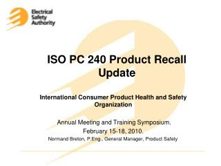 ISO PC 240 Product Recall Update