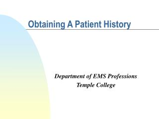 Obtaining A Patient History
