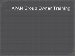 APAN Group Owner Training