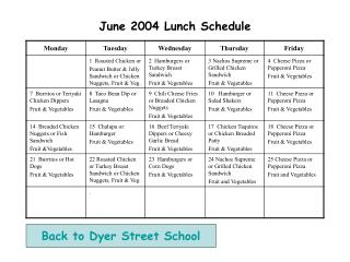 June 2004 Lunch Schedule