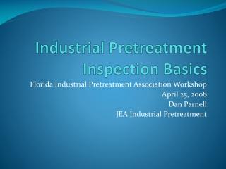 Industrial Pretreatment Inspection Basics