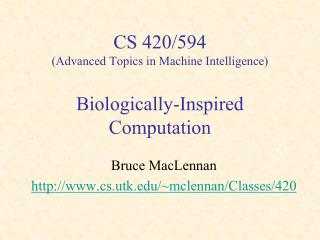 CS 420/594 (Advanced Topics in Machine Intelligence) Biologically-Inspired Computation