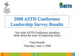 2008 ASTD Conference Leadership Survey Results