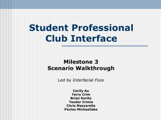 Student Professional  Club Interface