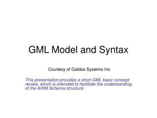 GML Model and Syntax