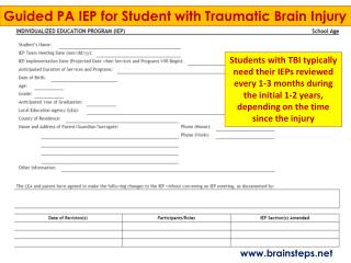 Guided PA IEP for Student with Traumatic Brain Injury