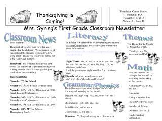 Templeton Center School Templeton, MA November 1, 2013 Volume III, Issue III