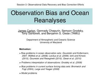 Observation  B ias and  O cean  R eanalyses