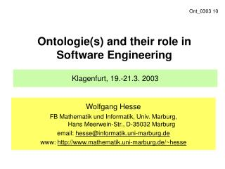 Ontologie(s) and their role in Software Engineering