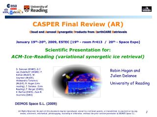 Scientific Presentation for:  ACM-Ice-Reading (variational synergetic ice retrieval)