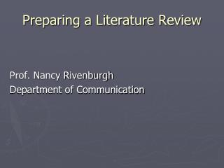Preparing a Literature Review